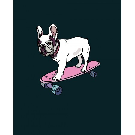 Single Jersey Panel 32x40 cm Bulldogge auf Skateboard
