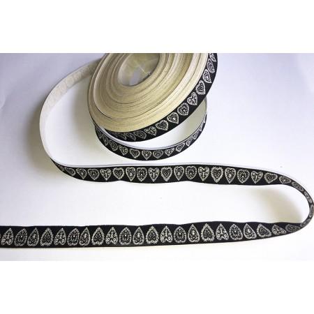 Baumwollband Eule 15 mm