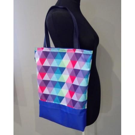 Einkaufstasche Dreiecke blau